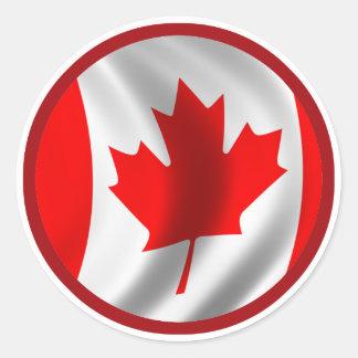 Drapeau canadien de ondulation sticker rond