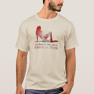 Drapeau canadien de silhouette de fille t-shirt