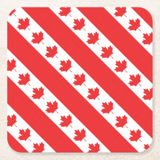 Drapeau canadien dessous-de-verre carré en papier
