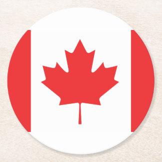 Drapeau canadien dessous-de-verre rond en papier