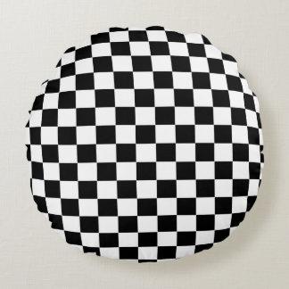 Drapeau Checkered Coussins Ronds