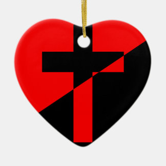 Drapeau chrétien de christianisme d'anarchie ornement cœur en céramique
