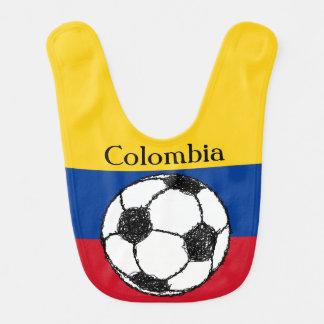 Drapeau colombien avec le football bavoir de bébé