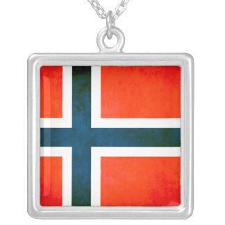Drapeau coloré de Norvégien de contraste Pendentif Carré