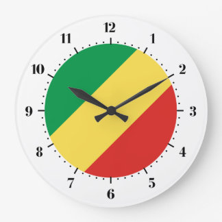 Drapeau congolais grande horloge ronde