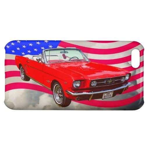 Drapeau convertible et américain du mustang 1965 d coques pour iPhone 5C