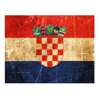 Drapeau croate vintage rayé et porté carte postale