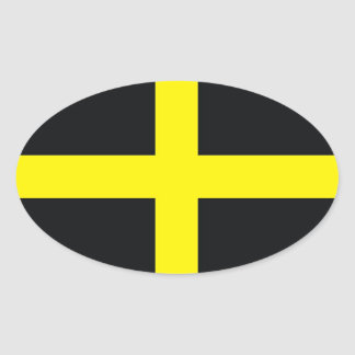 drapeau croisé Royaume-Uni Pays de Galles de David Sticker Ovale