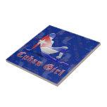 Drapeau cubain de silhouette de fille carreaux en céramique