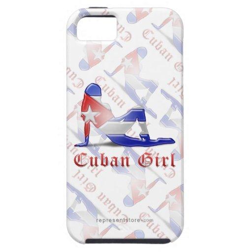 Drapeau cubain de silhouette de fille coques Case-Mate iPhone 5