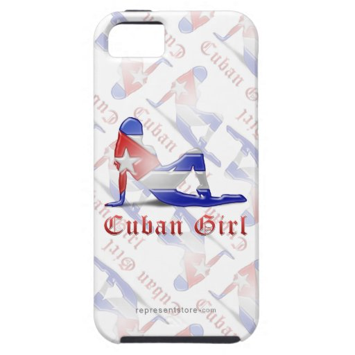 Drapeau cubain de silhouette de fille étuis iPhone 5
