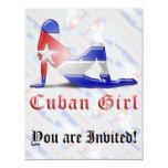 Drapeau cubain de silhouette de fille carton d'invitation 10,79 cm x 13,97 cm