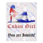 Drapeau cubain de silhouette de fille invitation personnalisable