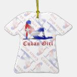 Drapeau cubain de silhouette de fille ornement
