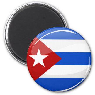 Drapeau cubain rond brillant magnet rond 8 cm