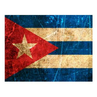 Drapeau cubain vintage rayé et porté carte postale
