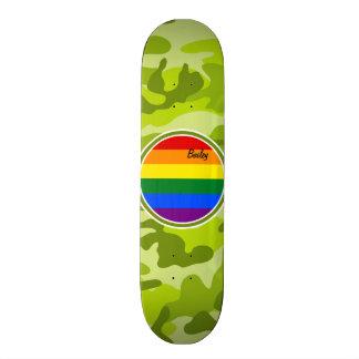 Drapeau d arc-en-ciel camo vert clair skateboards personnalisés