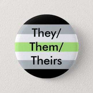 Drapeau d'Agender eux/eux/leurs se boutonnent Badges