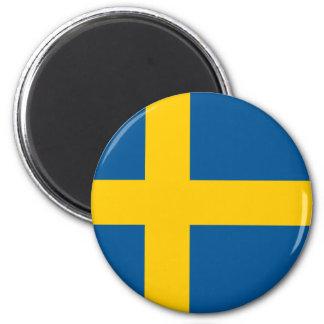 Drapeau d'aimant rond de la Suède Magnet Rond 8 Cm