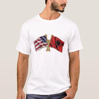 Drapeau d'amitié de l'Albanie Etats-Unis T-shirt