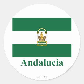 Drapeau d'Andalucía avec le nom Sticker Rond
