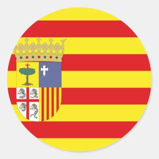 Drapeau d'Aragon Autocollant Rond