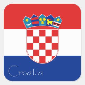 Drapeau d'autocollant de la Croatie (carré)