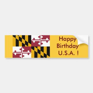 Drapeau d'autocollant du Maryland, joyeux Autocollant De Voiture