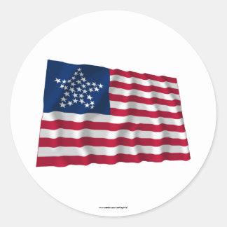 drapeau de 33 étoiles, grand profil sous autocollant rond