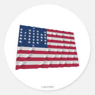 drapeau de 33 étoiles, motif de garnison de Sumter Sticker Rond