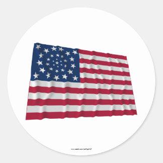 drapeau de 34 étoiles, motif de guirlande, annexes sticker rond