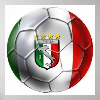 Drapeau de ballon de football de l Italie Forza Az Affiches