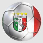 Drapeau de ballon de football de l'Italie Forza Sticker Rond