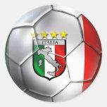 Drapeau de ballon de football de l'Italie Forza Az Adhésif Rond