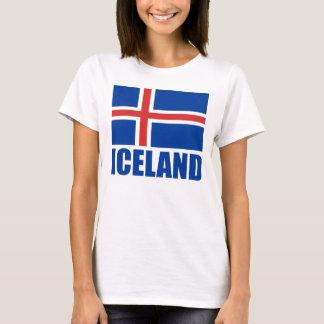 Drapeau de blanc bleu des textes de l'Islande T-shirt