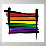 Drapeau de brosse de gay pride d'arc-en-ciel affiche