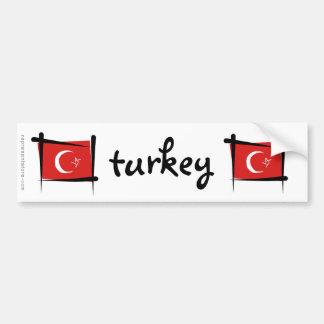 Drapeau de brosse de la Turquie Autocollant De Voiture