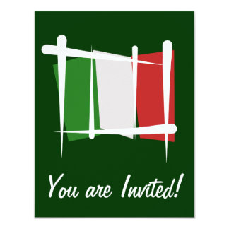 Drapeau de brosse de l'Italie Carton D'invitation 10,79 Cm X 13,97 Cm