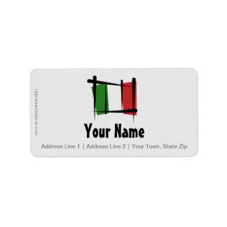 Drapeau de brosse de l'Italie Étiquettes D'adresse