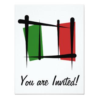 Drapeau de brosse de l'Italie Cartons D'invitation
