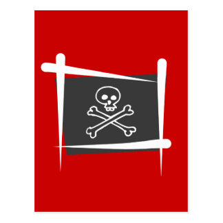 Drapeau de brosse de pirate cartes postales