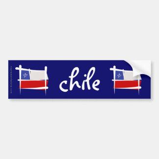 Drapeau de brosse du Chili Autocollant De Voiture