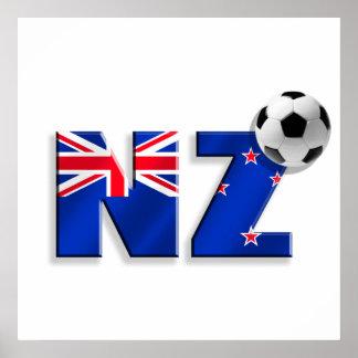 Drapeau de cadeaux de ballon de football de NZ de  Affiche