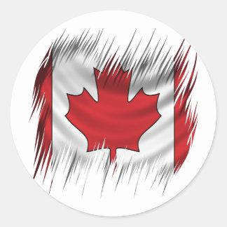 Drapeau de Canadien de défibreurs Sticker Rond