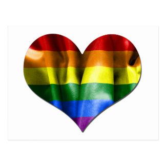 Drapeau de coeur d'amour de gay pride carte postale