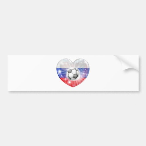 Drapeau de coeur du football de la Russie Autocollant Pour Voiture