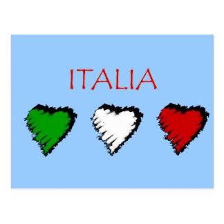 Drapeau de coeurs de l Italie de l amour d Italien Carte Postale
