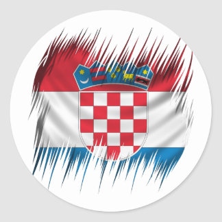 Drapeau de Croate de défibreurs Sticker Rond