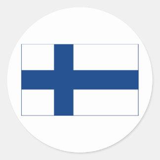 Drapeau de croix nordique bleue de la Finlande sur Sticker Rond