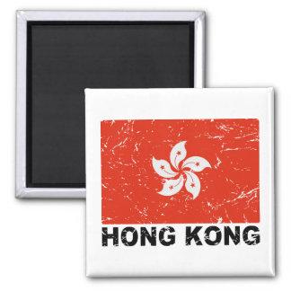 Drapeau de cru de Hong Kong Magnet Carré